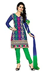 Idha Blue Semi-Stitched Embroidered Salwar Suit For Women