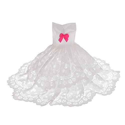 Juguetes-Muecas-Fashion-Banquete-de-Boda-Blanco-2-Capas-de-Vestir-para-Barbie