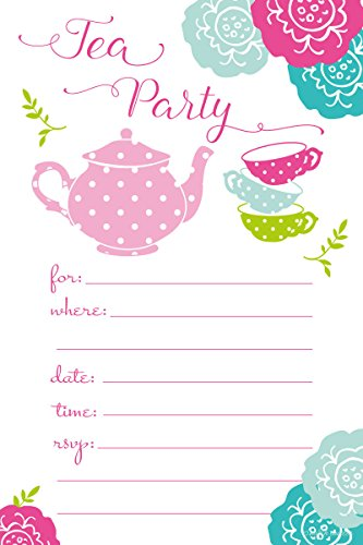 Tea Party Invitations - Birthday, Baby Shower, Any Occasion - Fill In Style (20 Count) With Envelopes (Baby Shower Tea compare prices)