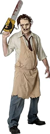 Leatherface tm Eva Mask with hair, Printed Apron with shirt & tie. Chainsaw not included