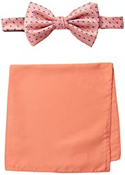 Steve Harvey Men\'s Neat Woven Bowtie and Solid Pocket Square, Coral, One Size