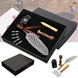 Antique Feather Writing Quill Pen Ink Seal Wax Set Collection Stationery Gift - Stationery Supplies Pens & Writing Supplies