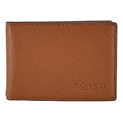 Coach Men's Sport Calf Leather ID Card Case 64118 Saddle