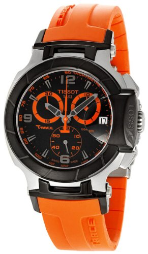 Tissot Men's T0484172705704 T-Race Quartz Orange Strap Chronograph Dial Watch