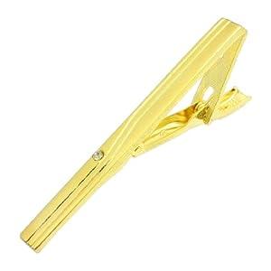 Rosallini Men Rhinestone Stripe Pattern Gold Tone Polished Tie Bar Necktie Clip