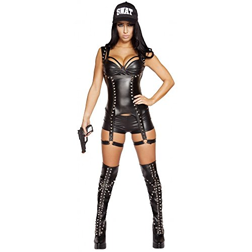 Sexy 3pc Women's Seductive SWAT Agent Cop Police Officer Costume (S) (Swat Agent Sexy Costume)