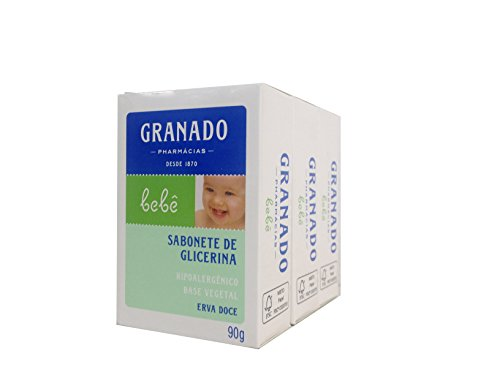 Linha Bebe Granado - Sabonete em Barra de Glicerina Erva-Doce (3 x 90 Gr) - (Granado Baby Collection - Fennel Glycerin Bar Soap Net (3 x 3.2 Oz)) - 1