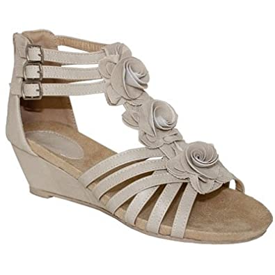 WOMENS STRAPPY GLADIATOR LOW WEDGE TBAR FLOWER WEDGES LADIES ANKLE ZIP SHOES NUDE 6