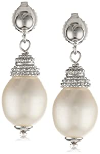 Sterling Silver White Freshwater Cultured Pearl Drop Earrings