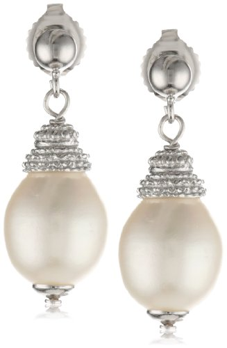 Sterling Silver White Freshwater Cultured Pearl Drop Earrings: Jewelry