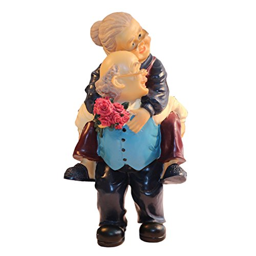Birthday Wedding Gift Figurines Collectibles of Grand Mother & Father - Handmade Back Carry Elderly Couple Polyresin Statues for Home Decor