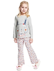 Pure Cotton Ditsy Floral & Bunny Pyjamas
