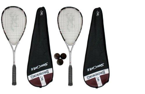 2 x Browning Super Gun 140 Ti Squash rackets + 3 x squash balls RRP £390