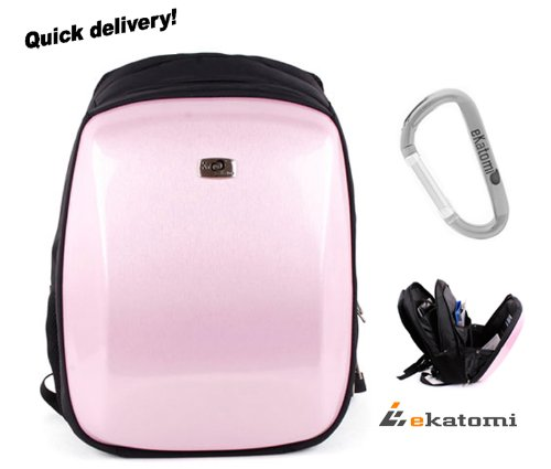 Carbon Fiber Like, Sweetmeats Backpack Travel Laptop Bag for 15.6 inch Acer AS5736Z-4016 Notebook - Uncover Pink. Bonus Ekatomi Screen Cleaner Sticker
