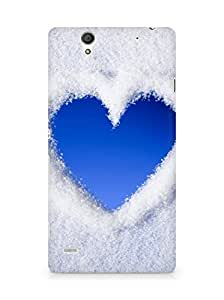 AMEZ Blue Love Heart Of Snow Back Cover For Sony Xperia C4