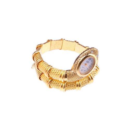 Bestdealusa Fashion Snake Shape Girl Lady Women Wrist Bracelet Watch Golden