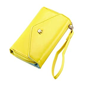 Gearonic AV-5376-Yellow-iph5 GEARONIC ? Yellow Multifunctional Wallet Purse Case for iPhone 5/4S/Samsung Galaxy S4 SIV/S3/HTC M7/iPod - Non-Retail Packaging - Yellow