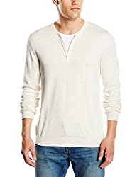 Celio Men's Cotton Blend Sweater (3596654128476_Centurionaw15_XX-large_Ecru)