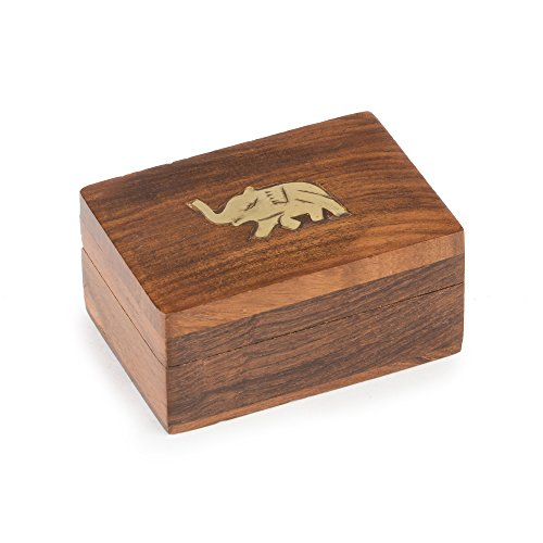 Rusticity Wooden Decorative Box - 3 in x 2 in - Brass Elephant Jewelry Box - Handmade from Indian Rosewood