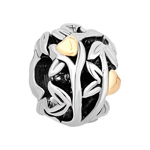 Golden Heart On Tree Of Life Family Bead Fits Pandora Charms Bracelet
