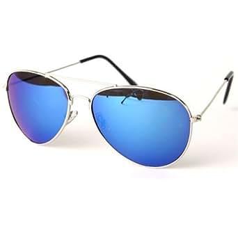 PURECITY© - Lunettes de soleil Aviateur Homme Femme Monture Métal Verre Effet Miroir Bleu