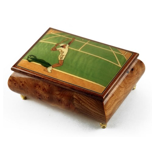 Sports Theme Wood Inlay: Tennis - Collectible Musical Jewelry Box with 18 Note Tune-O Holy Night discount price 2016