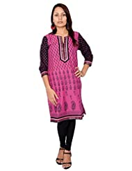Bela Printed Pink Straight Fit Kurti For Women (EC-11)