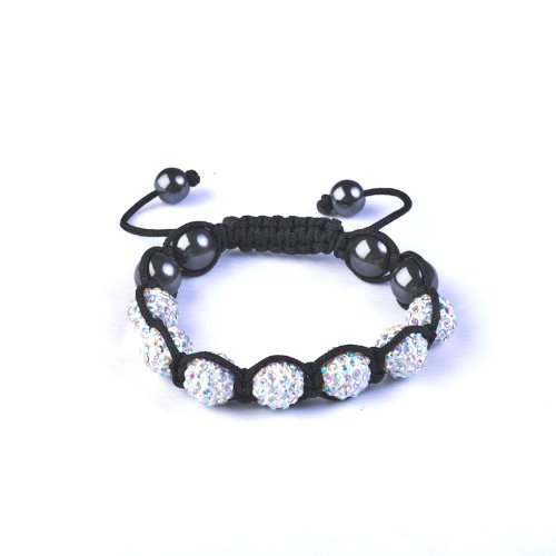 CAITS-JEWELLS © CLEAR Crystal Bead SHAMBALLA BRACELET with 9 Iced out Disco ball beads covered in crystals and 4 highly polished Hematite beads