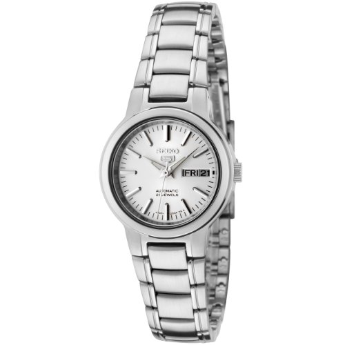 Seiko Women's 5 Automatic SYME39K Silver Stainless-Steel Automatic Watch with White Dial