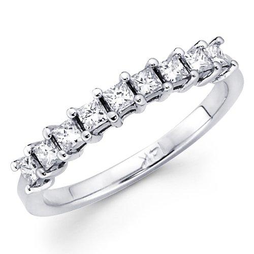 Cheapest 14K White Gold Diamond Ladies Women Princess Cut Wedding Anniversary Ring Band (1/3 CTW., GH, SI) - size 4.5