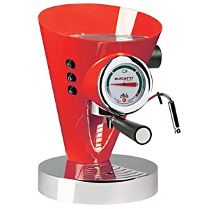 Bugatti 15DIVAC3110 Diva 15-Bar Pump Espresso Machine, Red