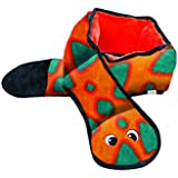Outward Hound 32068 Invincibles Plush Snake Stuffingless Durable Dog Toys Squeaker Toy 6-Squeakers, Large, Orange Blue