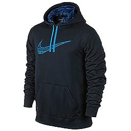 Nike Ko Mens Swoosh Camo Hoodie (LARGE, navy/blue)