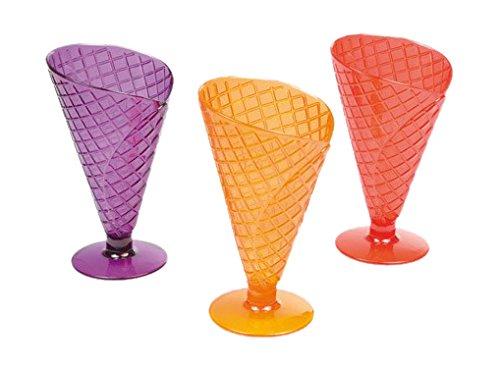 Viphome 6VAI811C Lot de 3 Coupes Forme Cornet Acrylique/Verre Multicolore 16,5 cm