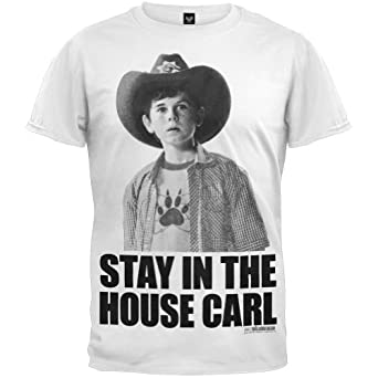 Stay In The House Carl - Walking Dead T-shirt Adult, White, Small,