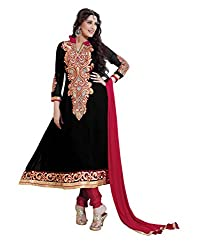 Lookslady Georgette Black Women Clothing Semi Stitched Salwar Kameez Suit