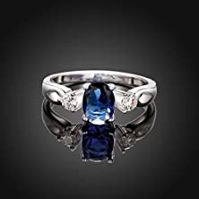 buy Fashion Pretty Engagement Wedding Rings Clear Zirconia Inlaid 925 Silver Plated Rings For Women Perfect Valentine'S Day Gift [Mr.Tie] Exquisite Silver Plated Rings