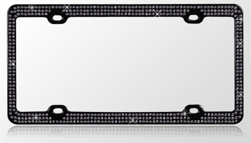 Black Chrome Metal Car License Plate Frame with 474 Black Crystals
