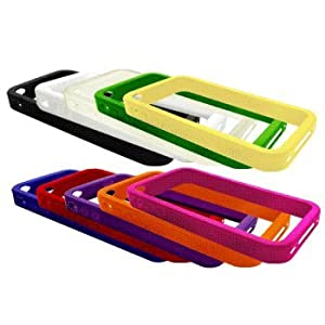 Ten Silicone Bumper Frame Cases / Skins / Covers for Apple iPhone 4 / 4G - Black, White, Clear, Green, Yellow, Blue, Red, Purple, Orange, Hot Pink