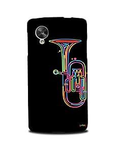 Gobzu Printed Hard Case Back Cover for LG Google Nexus 5 - Colorful Trumpet