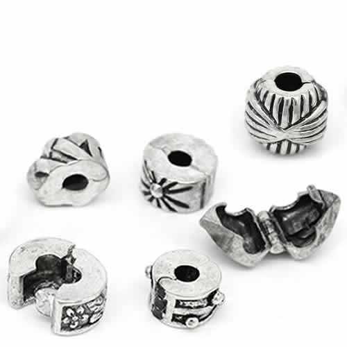 Six (6) Antique Silver Clip Lock Beads + 6 Rubber