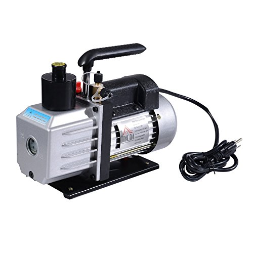 HomCom Single Stage 7 CFM Rotary Vane Vacuum Pump - Black/Silver (Rotary Vane Vacuum Pump Oil compare prices)