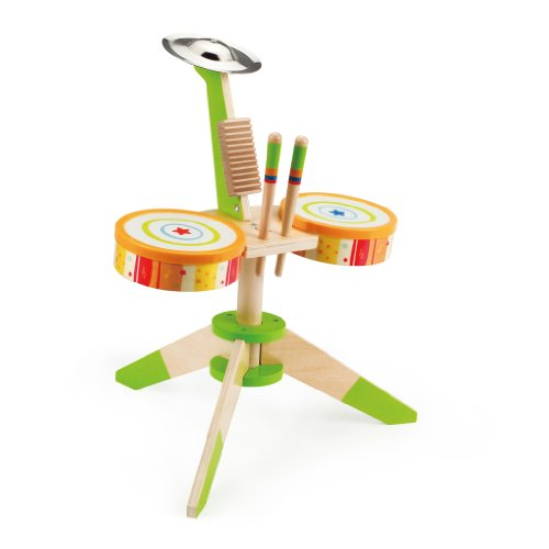 Hape-Early-Melodies-Rock-and-Rhythm-Band-Wooden-Drum-Set