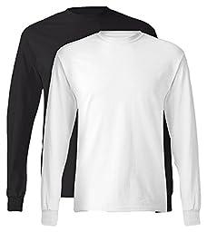 Hanes, 5586, Men\'s, Tagless Long Sleeve Tee, 1 Black + 1 White, Large