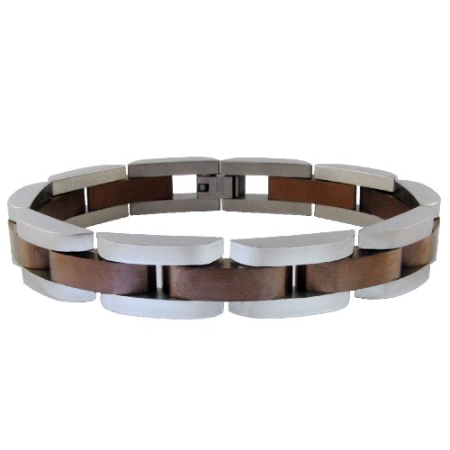 Men's Stainless Steel Bracelet with Brown Plating, 8.5