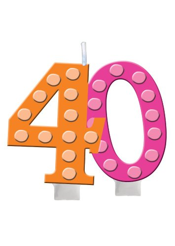 Creative Converting Bright and Bold 40th Birthday Molded Numeral Cake Candle - 1