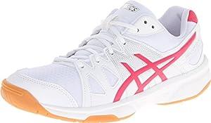 ASICS Women's Gel Upcourt Volleyball Shoe,White/Raspberry/Silver,6 M US