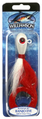 Williamson Banjo Eye Jig, 4-Ounce, Red White apex jig heads pack of 20 1 4 ounce chartreuse green