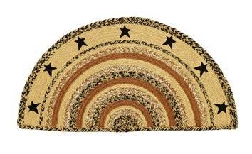 Kettle Grove Stencil Star Braided Jute Rug, Half Circle -16.5x33