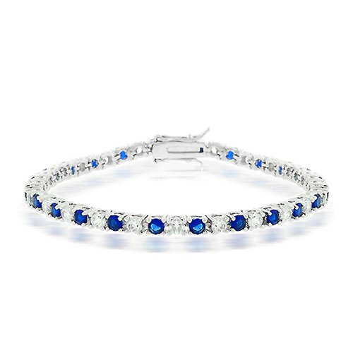 Click to buy Blue Sapphire Bracelet: Bling Jewelry Blue Sapphire Color Cubic Zirconia Tennis Bracelet from Amazon!
